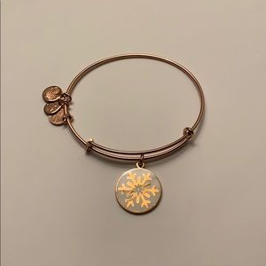Alex and Ani Archive Snowflake Bangle Rose Gold
